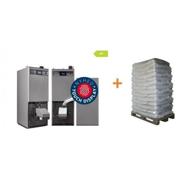 Pellux 200 pillebrænder sæt 20kw med 300 l silo, varmtvandsprioritering, varmtvandsprioritering, suge/trækblæser og Touch styring